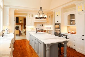 painted kitchen cabinets and feature island