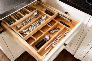 built-in cabinet and drawer organizers